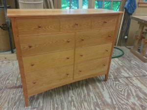 handmade cherry dresser with continuous grain drawer fronts